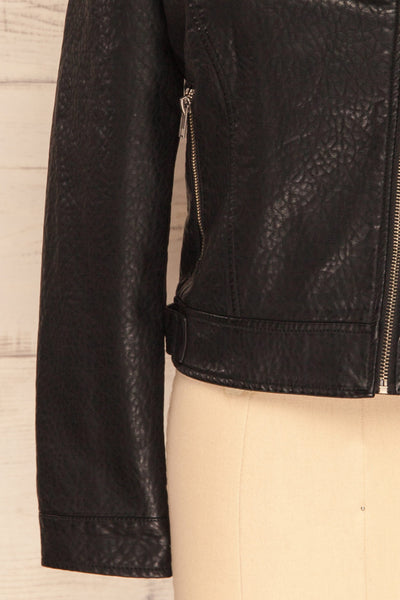 Almada Black Faux Leather Motorcycle Jacket | SLEEVE CLOSE UP | La Petite Garçonne