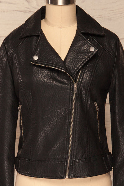 Almada Black Faux Leather Motorcycle Jacket | FRONT CLOSE UP ZIPPER CLOSED | La Petite Garçonne