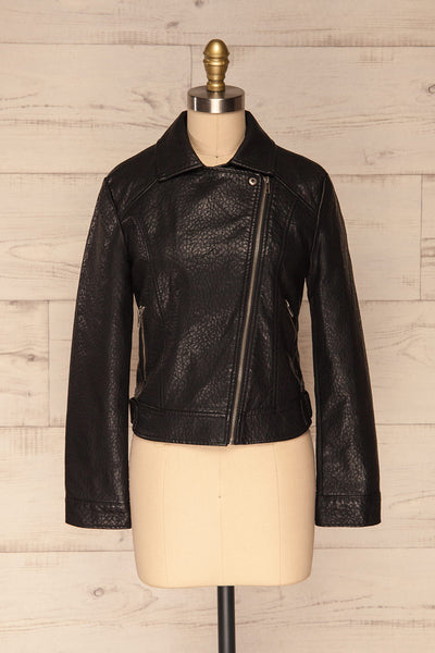 Almada Black Faux Leather Motorcycle Jacket | FONT VIEW ZIPPER UP  | La Petite Garçonne