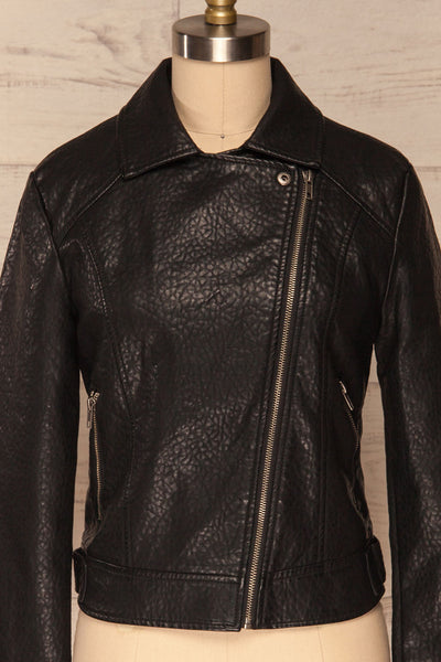 Almada Black Faux Leather Motorcycle Jacket | FRONT CLOSE UP | La Petite Garçonne