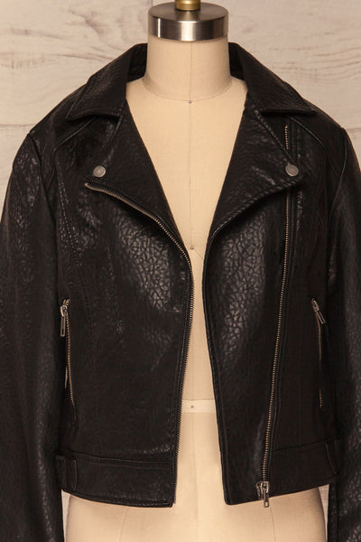 Almada Black Faux Leather Motorcycle Jacket | FRONT CLOSE UP ZIPPER OPEN | La Petite Garçonne