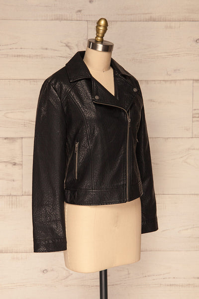 Almada Black Faux Leather Motorcycle Jacket | SIDE VIEW | La Petite Garçonne