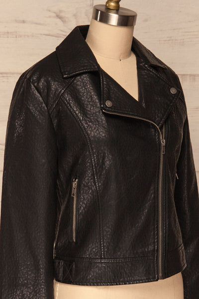 Almada Black Faux Leather Motorcycle Jacket | SIDE CLOSE UP  | La Petite Garçonne