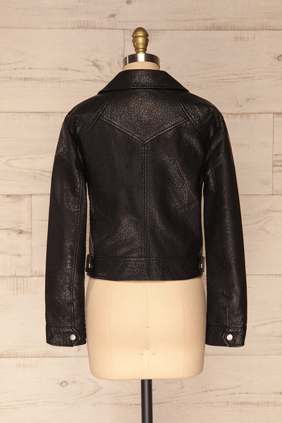 Almada Black Faux Leather Motorcycle Jacket | BACK VIEW | La Petite Garçonne