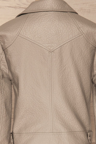 Almada Grey Faux Leather Motorcycle Jacket | La Petite Garçonne back close-up