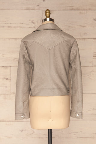 Almada Grey Faux Leather Motorcycle Jacket | La Petite Garçonne back view