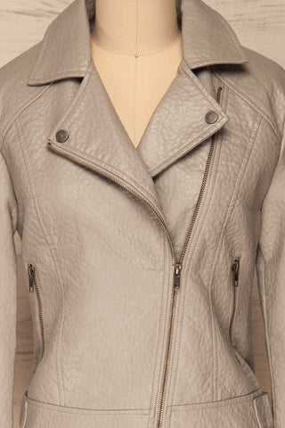 Almada Grey Faux Leather Motorcycle Jacket | La Petite Garçonne front close-up