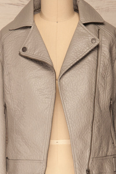 Almada Grey Faux Leather Motorcycle Jacket | La Petite Garçonne front open close-up