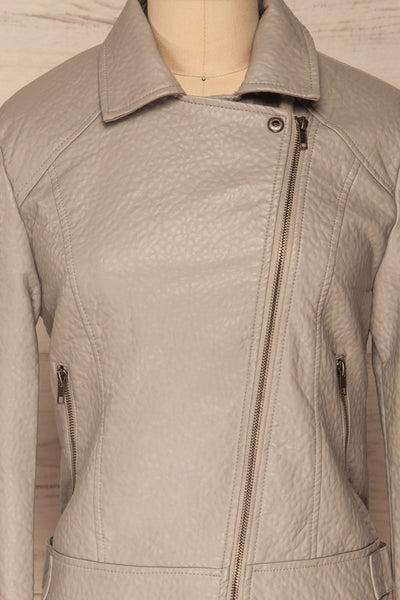 Almada Grey Faux Leather Motorcycle Jacket | La Petite Garçonne front close close-up