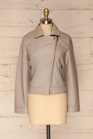 Almada Grey Faux Leather Motorcycle Jacket | La Petite Garçonne front close view