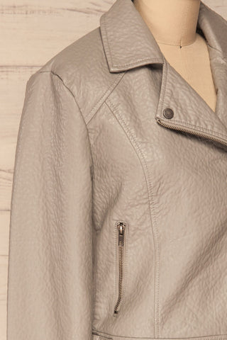 Almada Grey Faux Leather Motorcycle Jacket | La Petite Garçonne side close-up