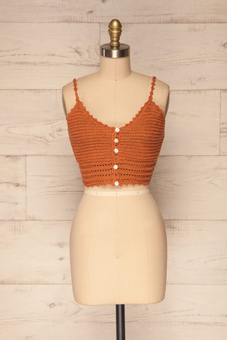 Almelo Rust Orange Crocheted Crop Top | La Petite Garçonne front view