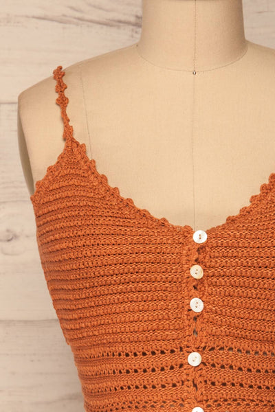 Almelo Rust Orange Crocheted Crop Top | La Petite Garçonne front close-up