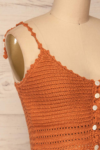 Almelo Rust Orange Crocheted Crop Top | La Petite Garçonne side close-up