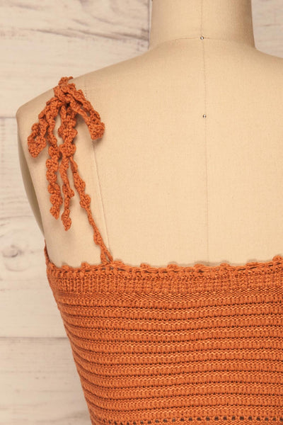 Almelo Rust Orange Crocheted Crop Top | La Petite Garçonne back close-up