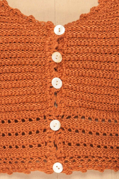 Almelo Rust Orange Crocheted Crop Top | La Petite Garçonne fabric detail
