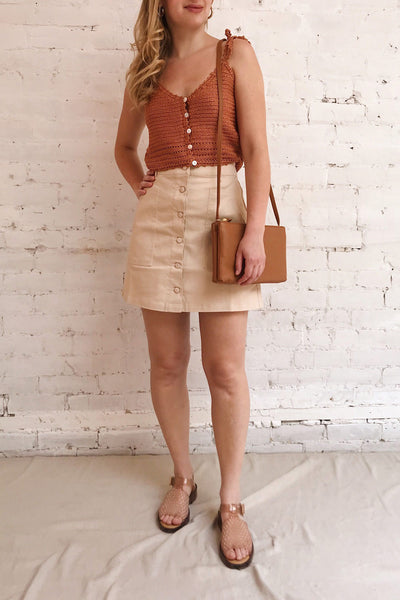 Alijo Beige Button-Up Mini Skirt w/ Pockets | La petite garçonne model look 1