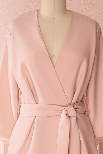 Alonit Light Pink Plunging Neckline Wrap Style Dress | Boutique 1861