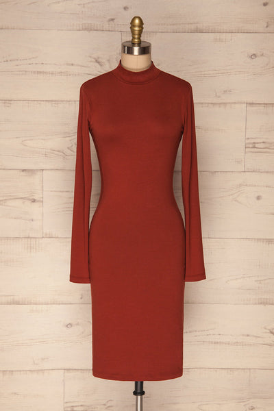 Alsdorf Cannelle Orange Long Sleeved Fitted Dress | La Petite Garçonne front view