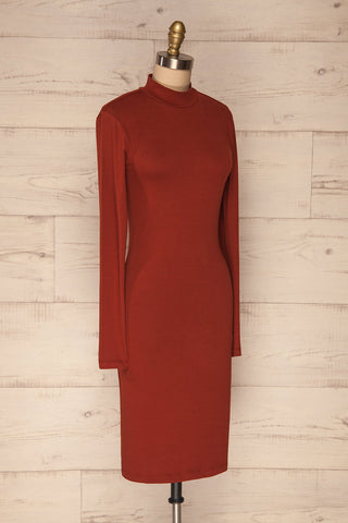 Alsdorf Cannelle Orange Long Sleeved Fitted Dress | La Petite Garçonne side view