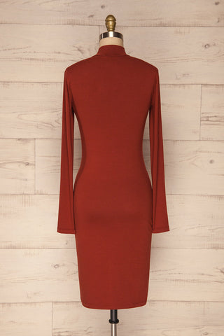 Alsdorf Cannelle Orange Long Sleeved Fitted Dress | La Petite Garçonne back view