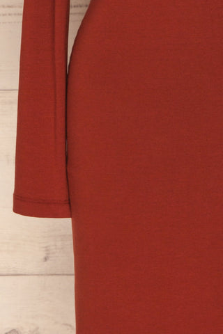 Alsdorf Cannelle Orange Long Sleeved Fitted Dress | La Petite Garçonne sleeve close-up