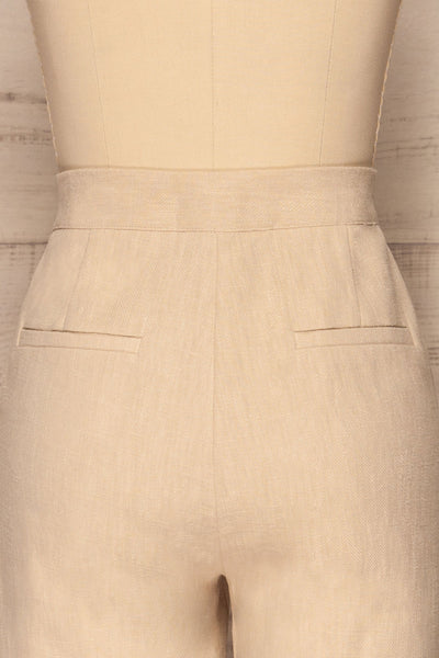 Altenberg Beige Linen Cropped Pants back close up | La petite garçonne