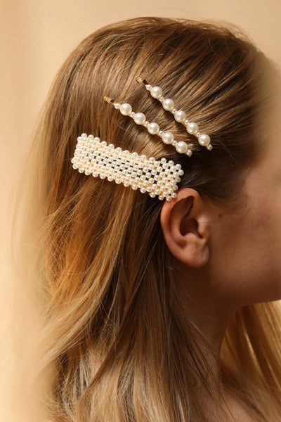 Altifico Set of Golden Pearl Studded Barrettes | La Petite Garçonne on blond model