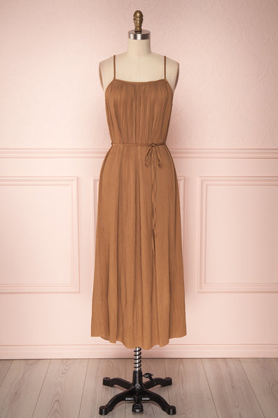 Alvis Camel Pleated Tunic Midi Dress | Boutique 1861 1