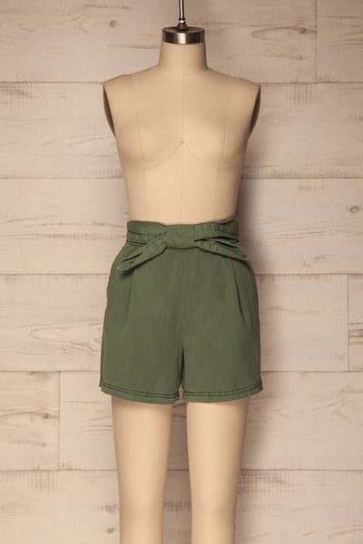 Amarousi Khaki Shorts with Fabric Belt | La Petite Garçonne