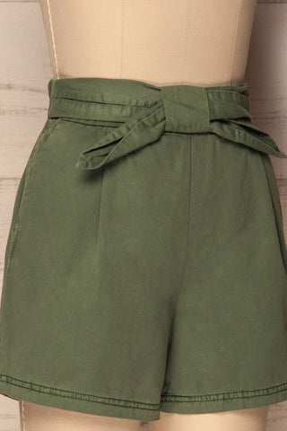 Amarousi Khaki Shorts with Fabric Belt | La Petite Garçonne 4