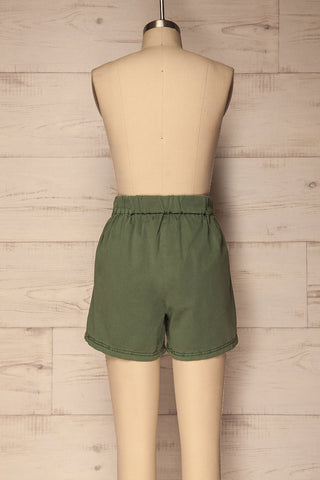 Amarousi Khaki Shorts with Fabric Belt | La Petite Garçonne 5