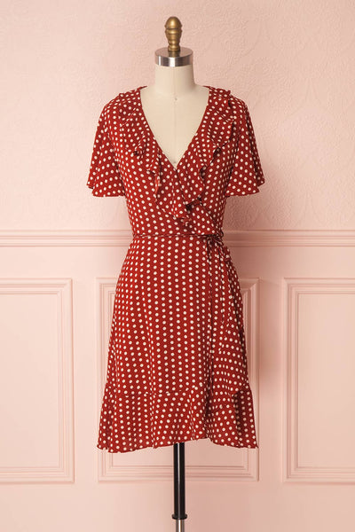 Amaui Red & White Polkadot Wrap Dress with Ruffles | Boutique 1861
