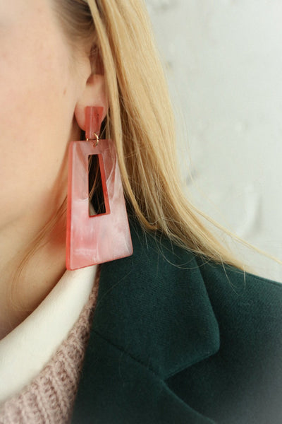 Amica Pink Marbled Pendant Earrings | La Petite Garçonne on model
