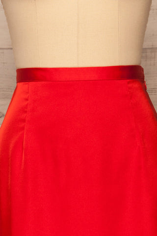 Amiens Red Midi Satin Skirt | Jupe | La Petite Garçonne front close-up