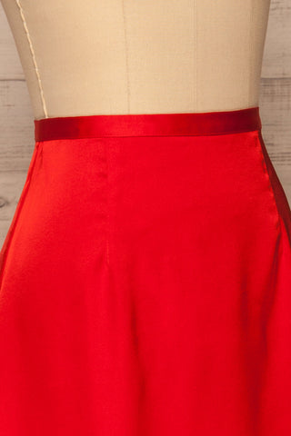 Amiens Red Midi Satin Skirt | Jupe | La Petite Garçonne side close-up