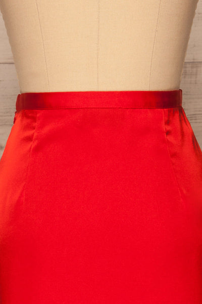 Amiens Red Midi Satin Skirt | Jupe | La Petite Garçonne back close-up