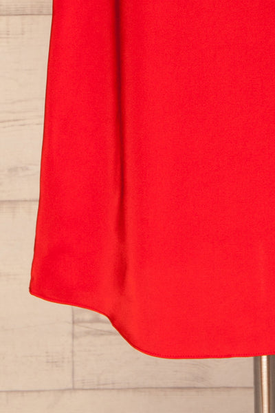 Amiens Red Midi Satin Skirt | Jupe | La Petite Garçonne bottom close-up