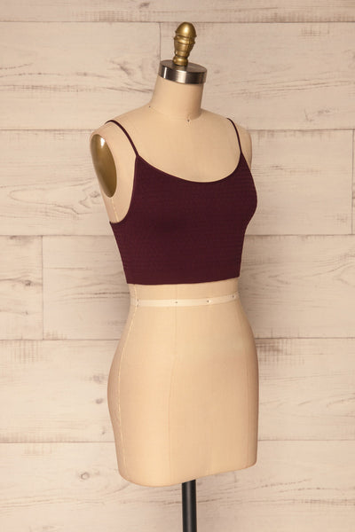 Anadia Burgundy Embossed Cropped Cami | La petite garçonne side view