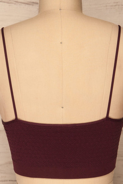 Anadia Burgundy Embossed Cropped Cami | La petite garçonne back close up