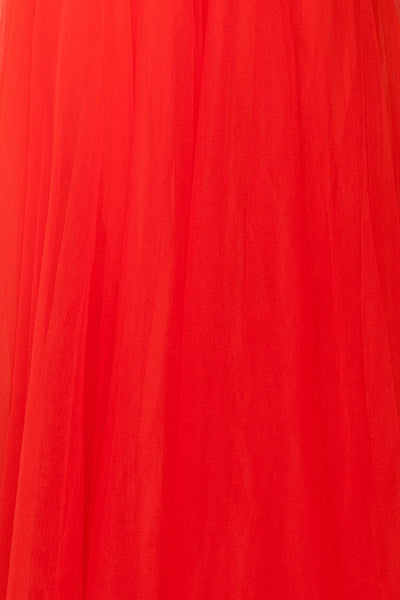 Anahis Sunset Red Tulle & Silk Maxi A-Line Dress | Boudoir 1861 8