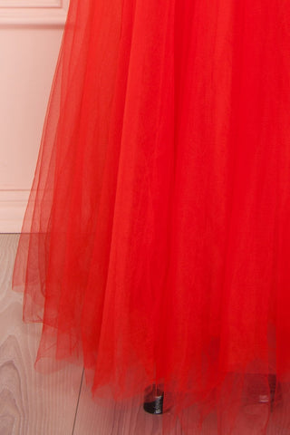 Anahis Sunset Red Tulle & Silk Maxi A-Line Dress | Boudoir 1861 7