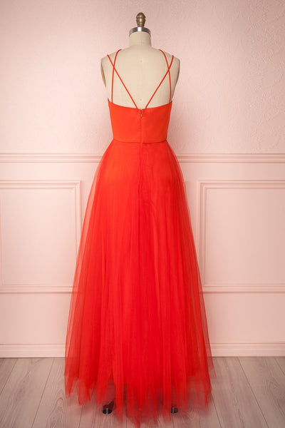 Anahis Sunset Red Tulle & Silk Maxi A-Line Dress | Boudoir 1861 5