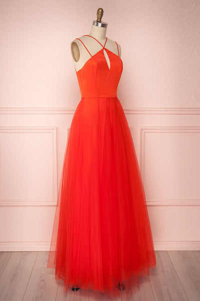Anahis Sunset Red Tulle & Silk Maxi A-Line Dress | Boudoir 1861 3