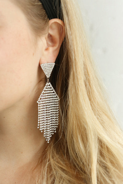 Andao Argent Silver Statement Crystal Pendant Earrings | Boutique 1861 on model