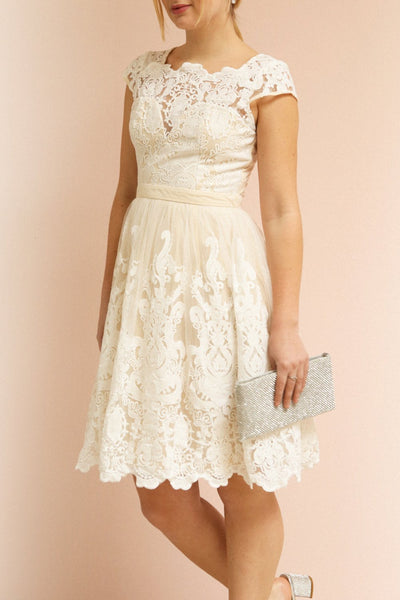 Andela Ivory Lace A-Line Cocktail Dress | Boudoir 1861 on model