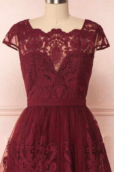 Andela Burgundy Lace A-Line Cocktail Dress | Boutique 1861 2
