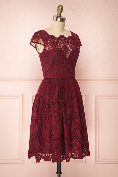Andela Burgundy Lace A-Line Cocktail Dress | Boutique 1861 3