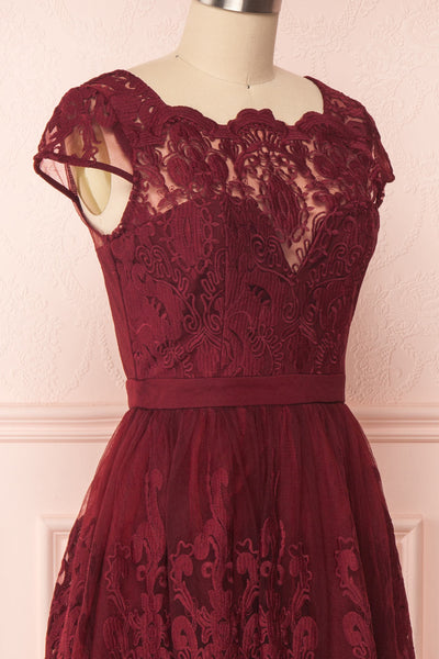 Andela Burgundy Lace A-Line Cocktail Dress | Boutique 1861 4