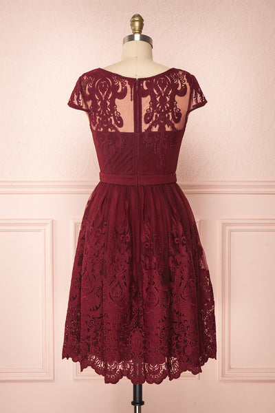 Andela Burgundy Lace A-Line Cocktail Dress | Boutique 1861 5